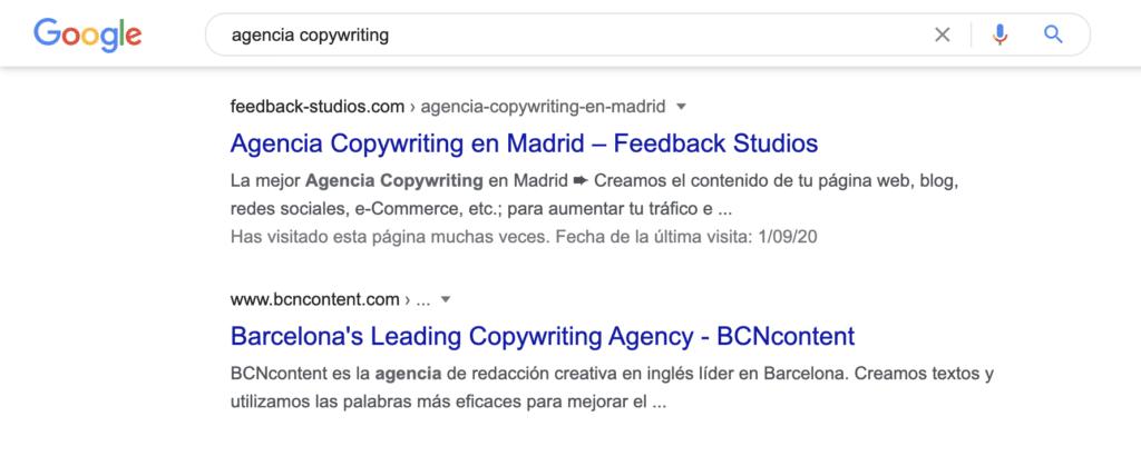 Resultados de búsqueda y las etiquetas de título y meta descripción de la página