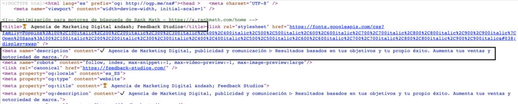 Código HTML donde figuran las etiquetas de título y meta descripción de la página